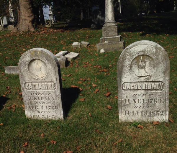 Catharine and Jacob Kidney tombstones