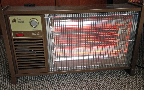The space heater we used while I was growing up. I'm surprised this antique still works.