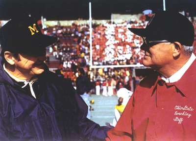 Bo Schembechler and Woody Hayes (wearing his iconic Block O cap). Photo by The Ohio State University Archives; used with permission.