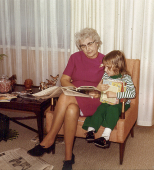Grandma reading to me, 1970. I have no doubt that she read to me all of the books that I was holding.