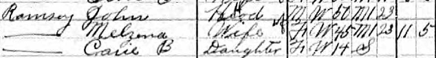 John Ramsey household (part),1910 U.S. census, Hopewell Twp, Perry County, Ohio, ED 128, sheet 5A. Note: the rest of the family is on sheet 5B.