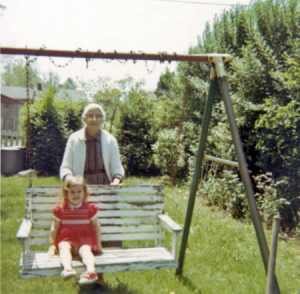 Great-grandma Clara (Mason) Young and me. Photo taken in my grandparents' (Stanley and Adah Young Johnson) back yard.