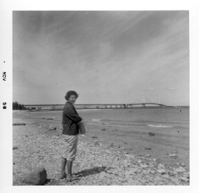 Mom at the Mackinaw Bridge, 1958