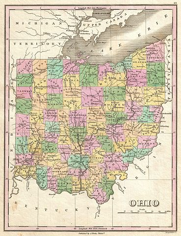 Ohio map by Anthony Finley, 1827.