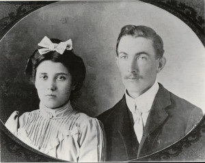 Clara (Mason) and Robert Andrew Young. We believe this photo was taken around the time of their wedding in 1903.