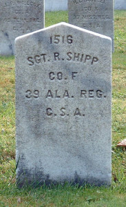 Tombstone of Sgt. R. Shipp, Camp Chase Confederate Cemetery. Photo by Amy Crow, 8 Oct 2004.