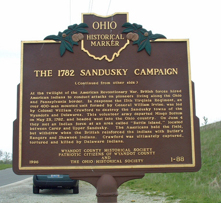 Ohio Historical Marker, Wyandot County. Photo by Amy Johnson Crow, 30 April 2006.