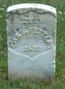Tombstone of Chas. Fetters, Stones River National Cemetery. Photo by Amy Crow, 4 June 2005.