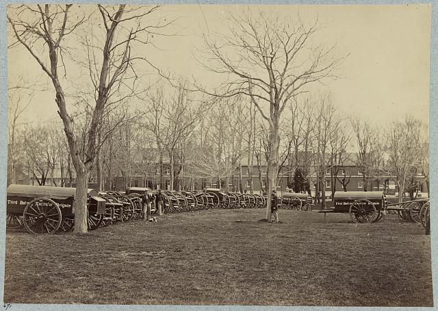 Washington, D.C., 1862. Park of artillery (Excelsior Brigade) at Washington Arsenal. Photo by Mathew Brady. Downloaded from the Library of Congress; no known restrictions on publication.