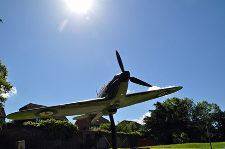 Hurricane outside the Battle of Britain bunker. This is the kind of plane that won the battle. Photo by Amy Crow, 10 June 2014.