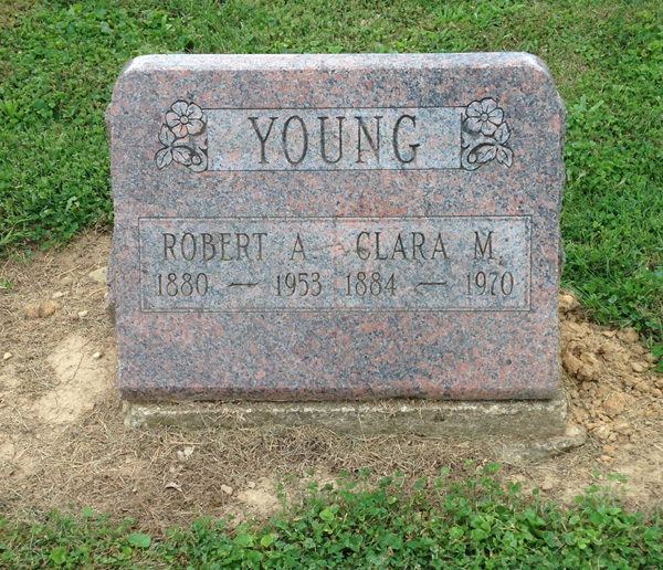 Robert and Clara Young's grave, Wilson Cemetery, Licking County, Ohio. Photo by Amy Crow, 13 September 2014.