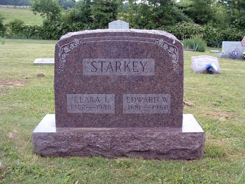 Edward and Clara Starkey tombstone, Olivet Cemetery, Perry County, Ohio. Photo by Amy Crow, 2004.