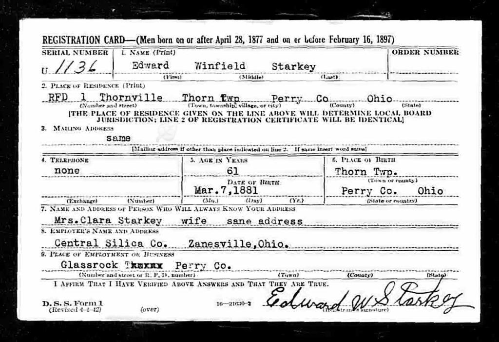 Edward Winfield Starkey registration card, World War II Draft Registration Cards, 1942, Ancestry.