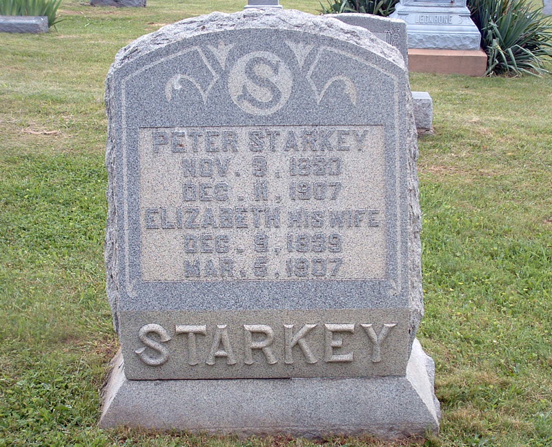 Peter and Elizabeth Starkey tombstone, Olivet Cemetery, Perry County, Ohio. Photo by Amy Crow, 30 May 2004.