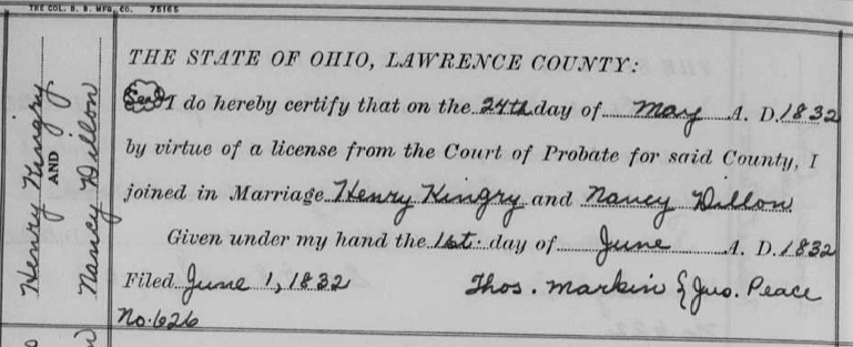 Henry Kingry and Nancy Dillon marriage record, Lawrence County, Ohio, downloaded from FamilySearch.org.