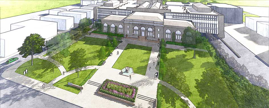 """An enhanced front plaza will greet customers along Grant Ave."" Image courtesy of the Columbus Metropolitan Library."
