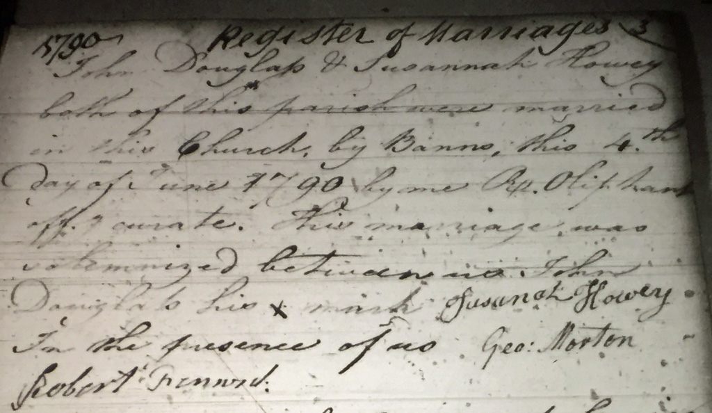 John Douglass and Susannah Howey marriage record, Kirknewton parish records, Northumberland, England.
