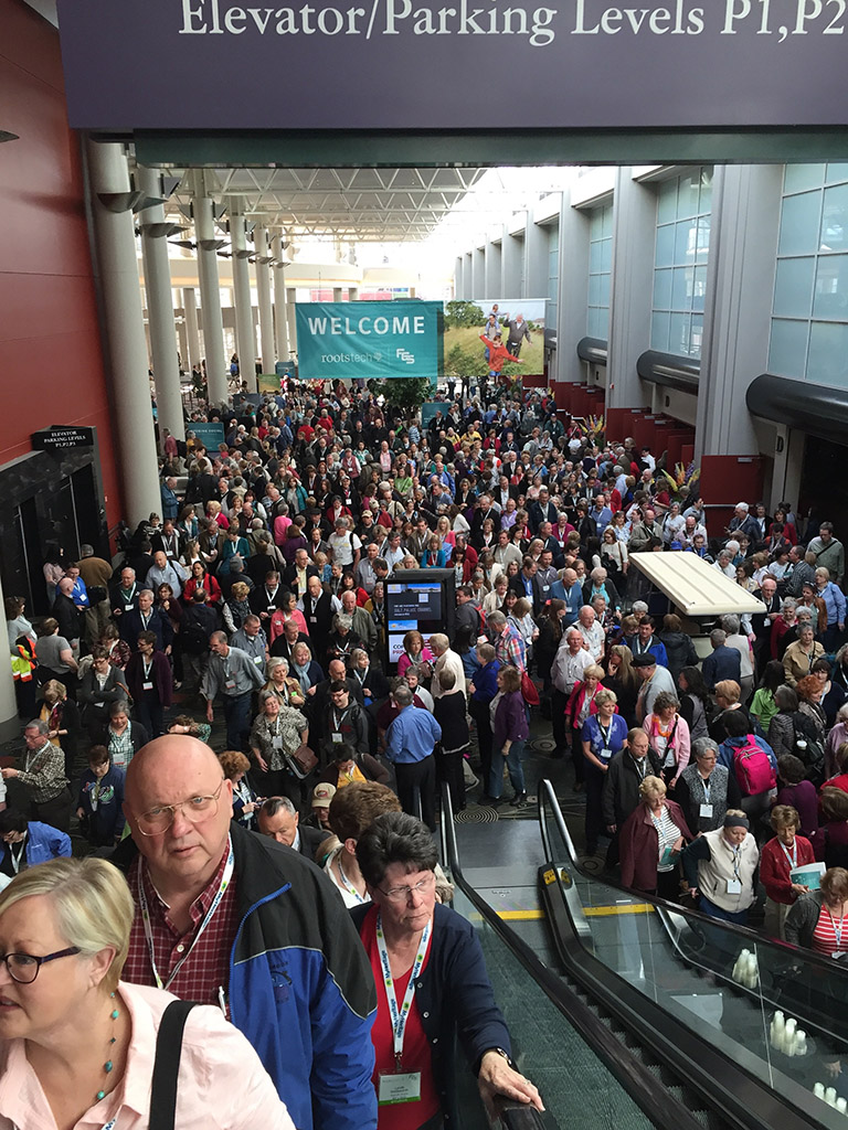 Crowd leaving the Thursday keynote, RootsTech/FGS 2015. not every genealogy conference is this big, but you'll find friendly groups at whatever genealogy event you attend.