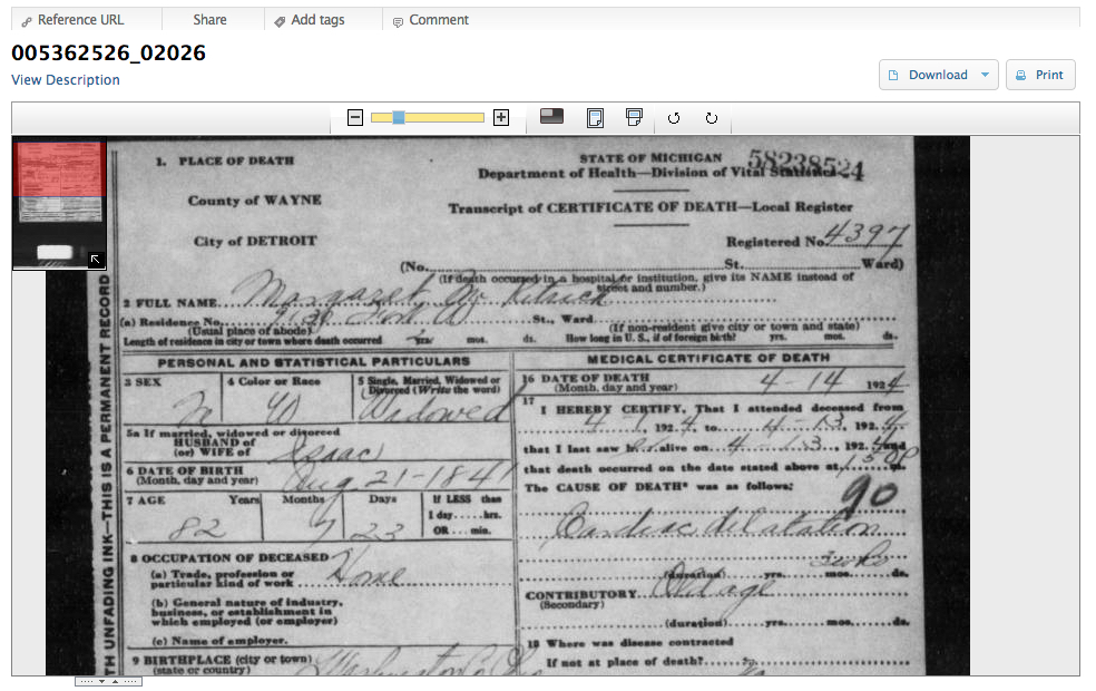 Seeking Michigan death certificate viewer
