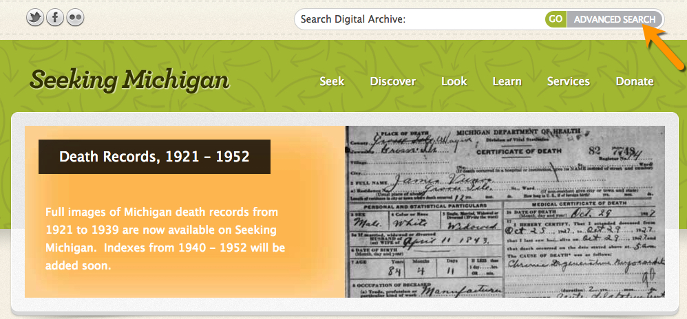 Seeking Michigan website death certificates