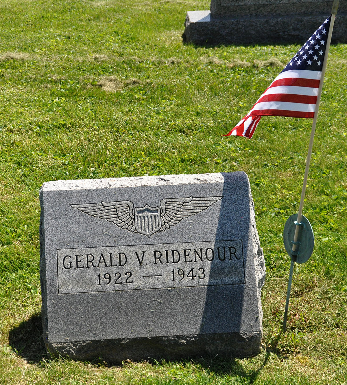 Gerald V. Ridenour tombstone, Highland Cemetery, Glenford, Perry County, Ohio. Photo by Amy Johnson Crow, 23 May 2015.
